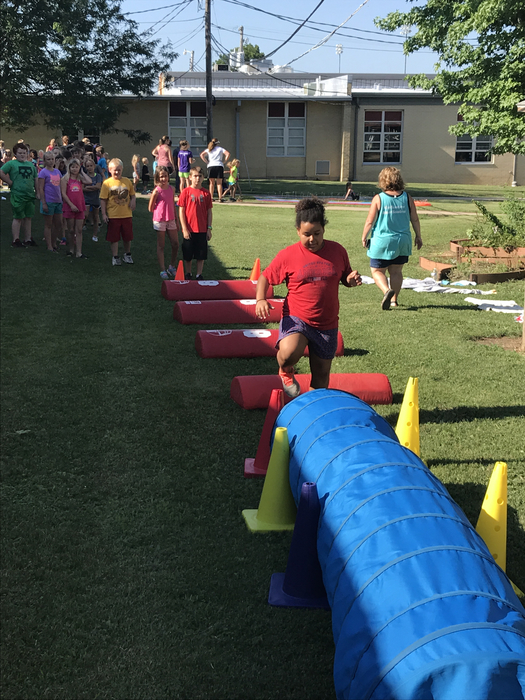 Tackling the obstacle course!
