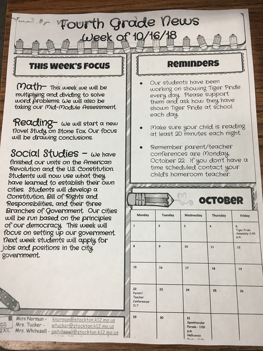 4th grade newsletter