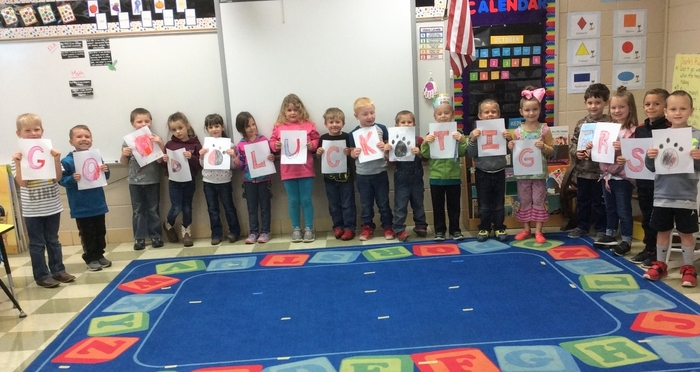 "Big smiles and a ""Good Luck Tigers!"" message from Mrs. Hillsman's kindergarten class!"