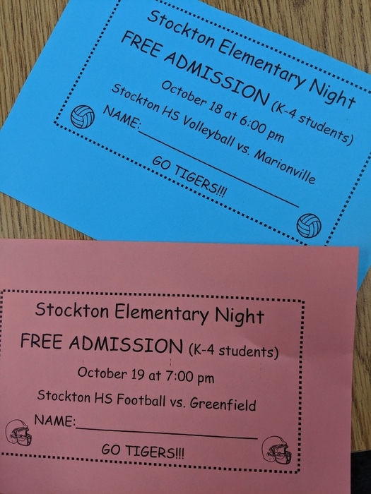 Elementary students are coming home with Free Admission Tickets for Thursday's high school volleyball game and Friday's Homecoming football game.