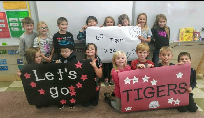 Mrs. Finch's first graders say Go Tigers!