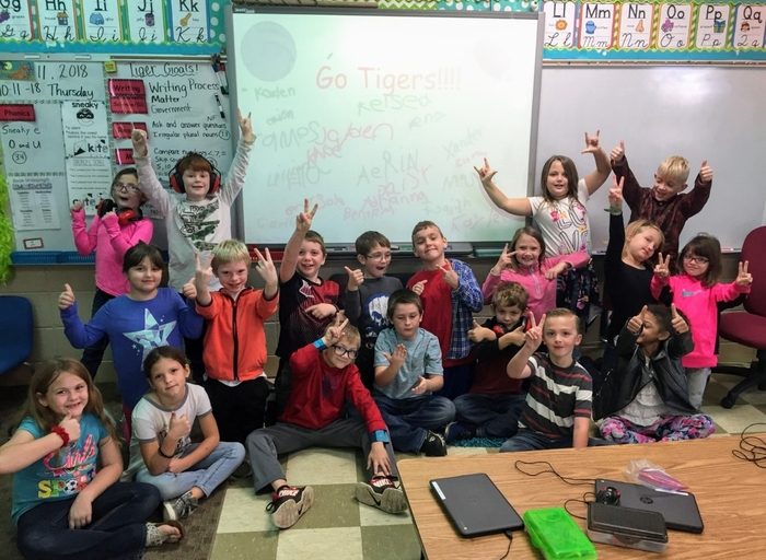 Mrs. Whaley's 2nd graders say Good Luck Tiger Volleyball against Marionville tonight and to the varsity football and Tiger Band at the Homecoming game on Friday!