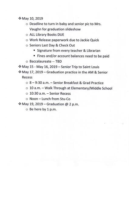 Important Senior Dates/Deadlines
