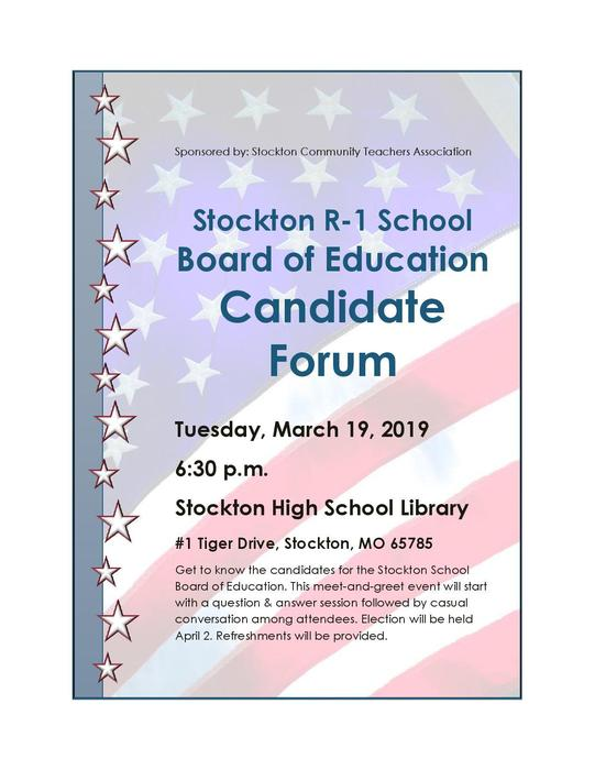Board of Education Candidate Forum March 19 at 6:30 p.m.