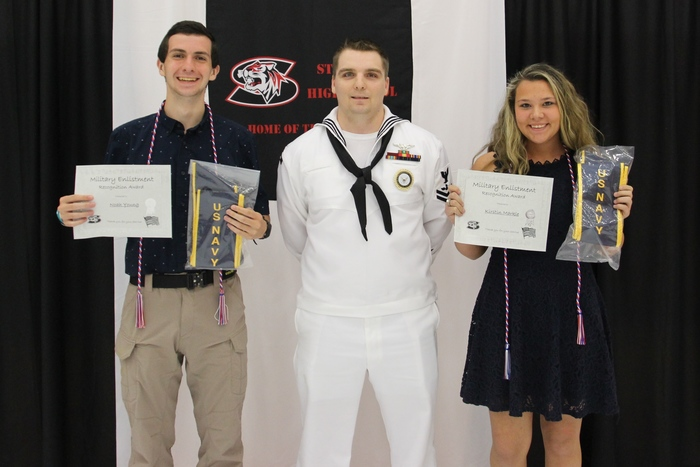 Noah and Kirstin with Petty Officer Hicks