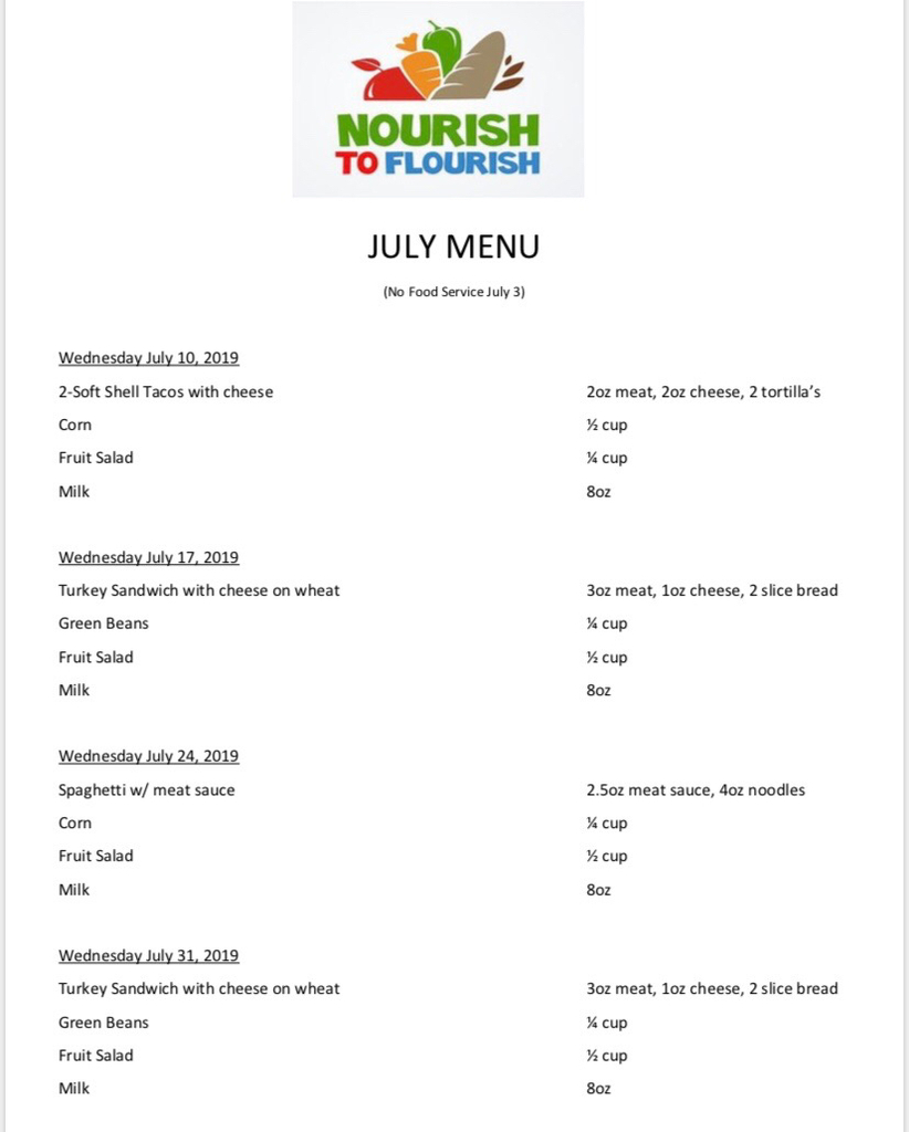Nourish to Flourish Menu