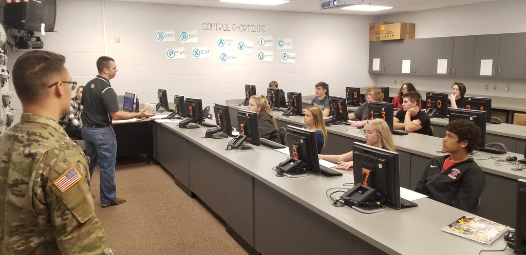 Students sitting in a computer lab receiving ASVAB results