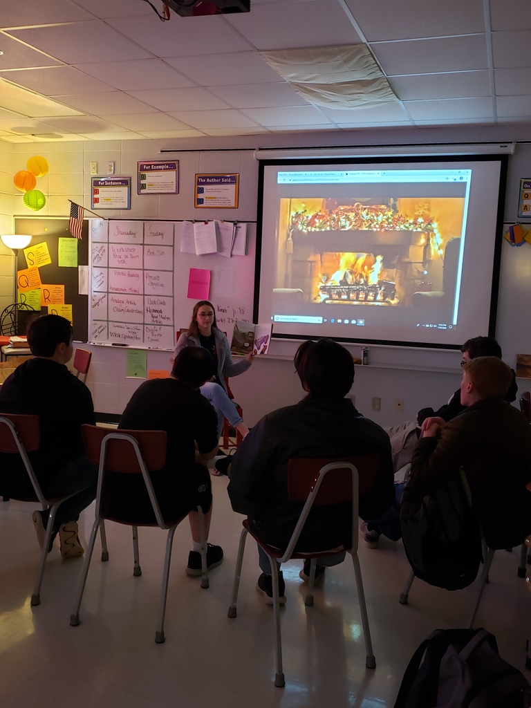 Speech students practiced their storytelling skills on this cold, snowy day!