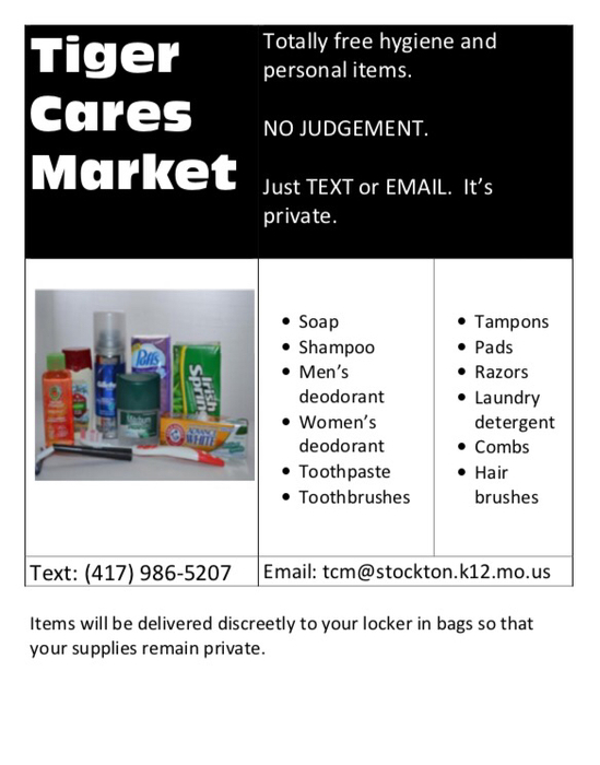 Tiger Cares Market flyer lists hygiene supplies students can request anonymously.